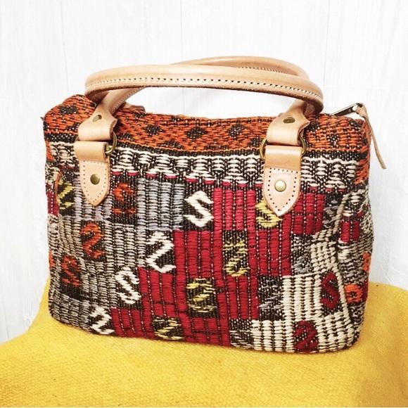 Vintage Handbags - [Vintage] Matt Camron Kilim Aztec Carpet Bag